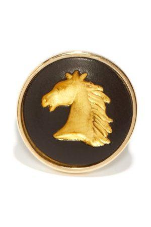 Ferian Dames Ringen - Horse Wedgwood Cameo & 9kt Gold Signet Ring - Womens - Black Gold