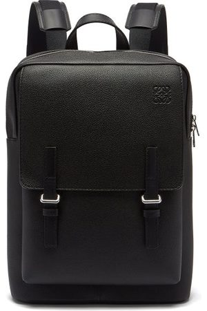 Loewe Military Grained-leather Backpack - Mens - Black