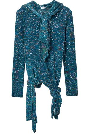 Loewe Scarf-neck Knotted Sequinned Sweater - Womens - Blue