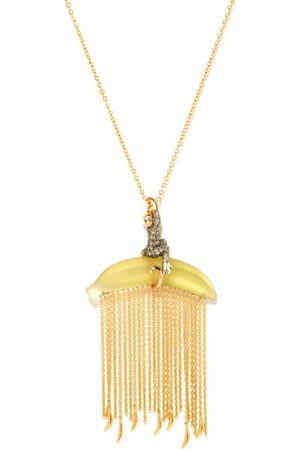 Bibi van der Velden Dames Kettingen - Monkey On Banana Diamond & 18kt Gold Necklace - Womens - Yellow Multi