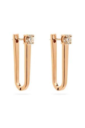 Melissa Kaye Aria U Diamond & 18kt Rose-gold Hoop Earrings - Womens - Rose Gold