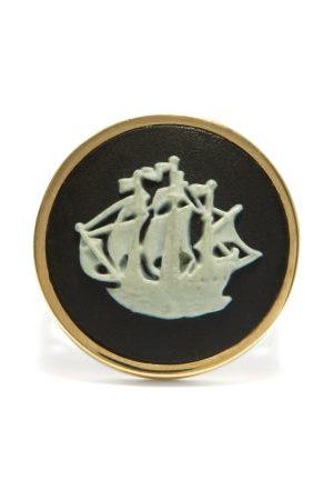 Ferian Galleon Wedgwood Cameo & 9kt Gold Signet Ring - Womens - Black White
