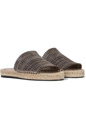 Alaïa Laser-cut leather espadrille sandals