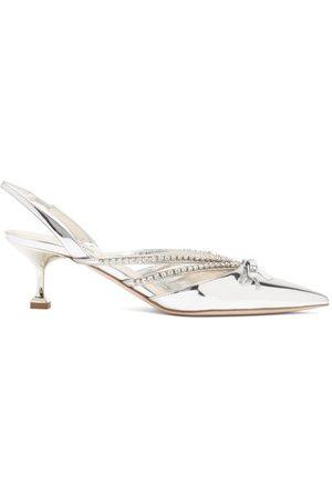 Miu Miu Crystal-embellished Patent-leather Slingback Pumps - Womens - Silver