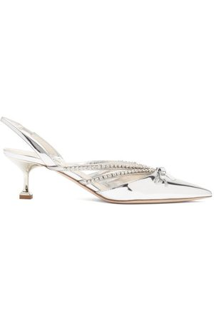 Miu Miu Dames Pumps - Crystal-embellished Patent-leather Slingback Pumps - Womens - Silver