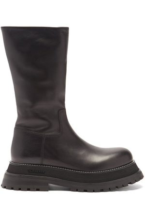 Burberry Jeffy Flatform-sole Leather Boots - Womens - Black