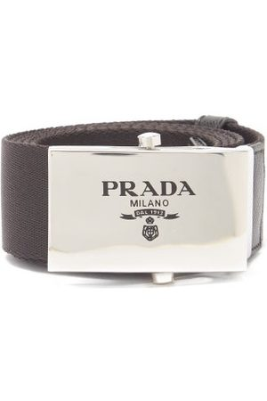 Prada Logo-engraved Leather-trimmed Canvas Belt - Mens - Black