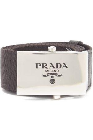 Prada Logo-engraved Leather-trimmed Canvas Belt - Mens - Black