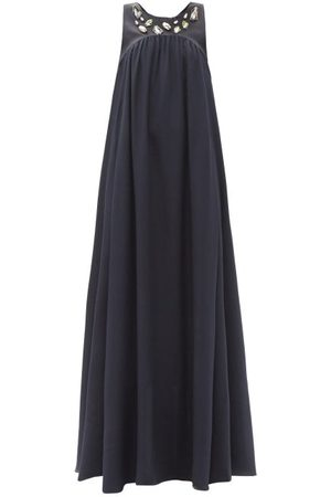 Ssone Reunion Upcycled-crystal Organic-silk Maxi Dress - Womens - Navy