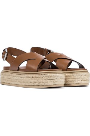 Prada Leather platform espadrille sandals