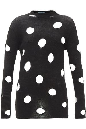 Prada Distressed Open-weave Wool Sweater - Womens - Black