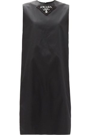 Prada Logo-print Re-nylon Gabardine Shift Dress - Womens - Black