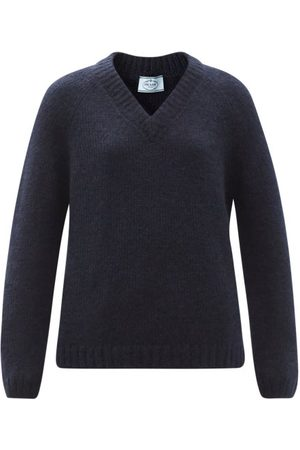 Prada V-neck Mohair-blend Sweater - Womens - Navy