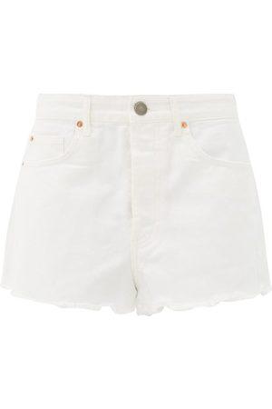 Raey Tahiti Frayed-hem Denim Shorts - Womens - White