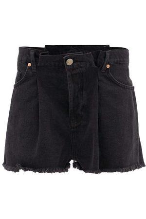 Raey Fold Raw-hem Denim Shorts - Womens - Black