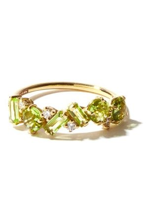 Suzanne Kalan Diamond, Peridot & 14kt Gold Ring - Womens - Green Gold