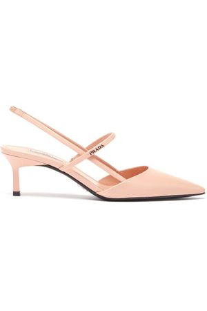 Prada Point-toe Spazzolato-leather Slingback Pumps - Womens - Light Pink