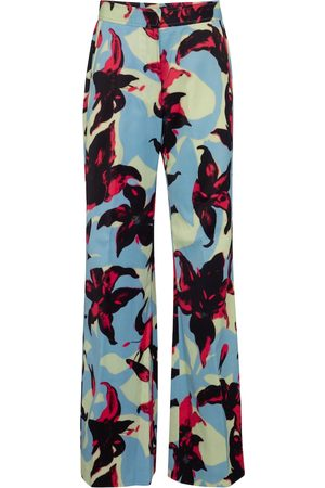 DRIES VAN NOTEN Floral wide-leg satin pants