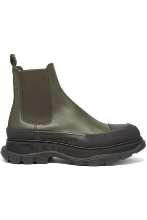 Alexander McQueen Tread Leather Chelsea Boots - Mens - Black Khaki