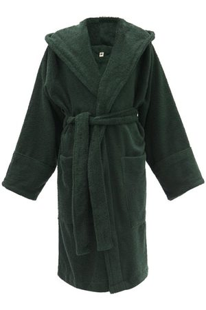 Tekla Dames Badjassen - Organic-cotton Terry Hooded Bathrobe - Womens - Dark Green