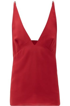Raey Dames Spaghettitops - Silk Crepe De Chine Cami Top - Womens - Red