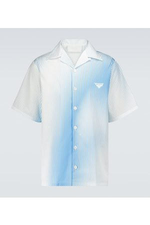 Prada Striped cotton camp-collar shirt