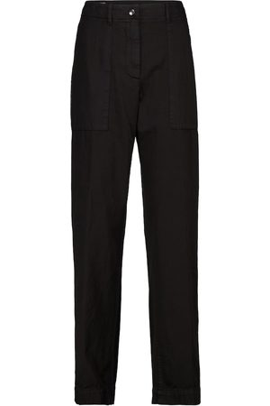 DRIES VAN NOTEN High-rise cotton twill tapered pants
