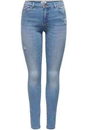 Only Onlwauw Life Mid Destroyed Skinny Jeans Dames Blauw