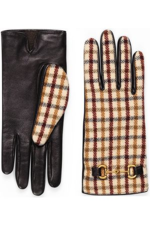 Gucci Check wool gloves with leather