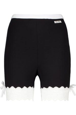 Miu Miu Lace-trimmed jersey biker shorts