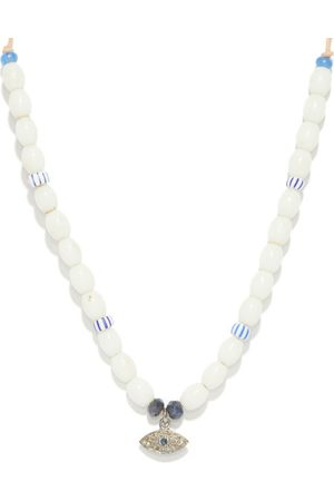 Musa by Bobbie Diamond, Sapphire & Glass Necklace - Womens - White