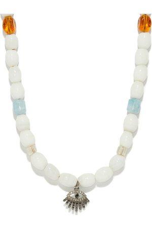 Musa by Bobbie Diamond Evil Eye-charm Beaded Necklace - Womens - White