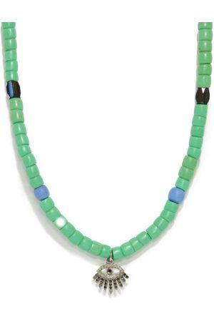 Musa by Bobbie Diamond Evil Eye-charm Beaded Necklace - Womens - Green