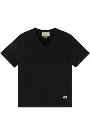 Gucci Heren Shirts - Linen V-neck T-shirt with Double G