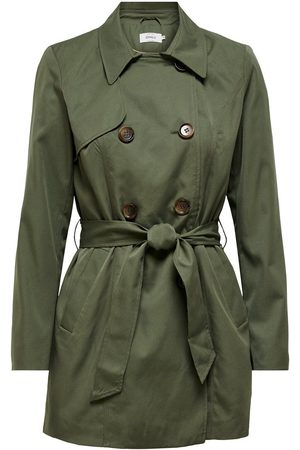 Only Double-breasted Trenchcoat Dames Green