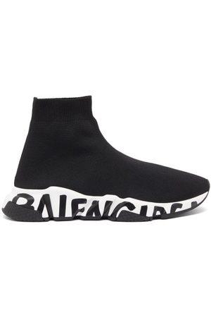 Balenciaga Dames Sneakers - Speed Graffiti-print Trainers - Womens - Black White