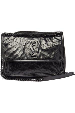 Saint Laurent Niki Medium Ysl-plaque Leather Shoulder Bag - Womens - Black