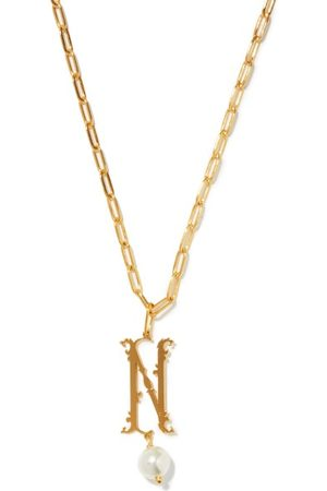 Simone Rocha Dames Kettingen - Initial-pendant Gold-plated Necklace (n-z) - Womens - Gold Multi