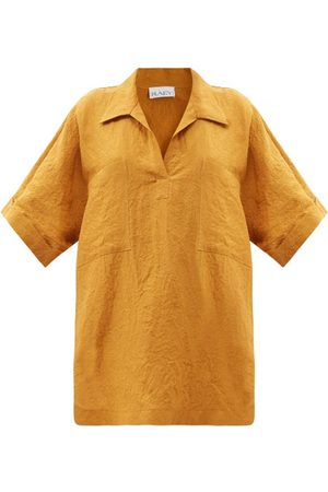 Raey Patch-pocket Linen Smock Top - Womens - Bronze