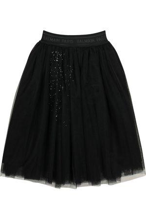 Balmain Crystal-embellished tulle skirt
