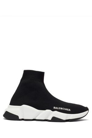 Balenciaga Speed Recycled-knit Trainers - Womens - Black White