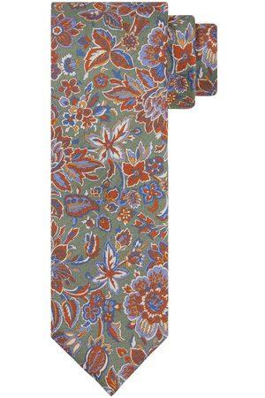 Profuomo Heren groene zijden bloemenprint stropdas