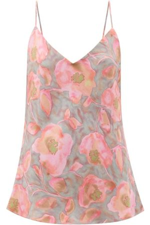 Raey Watercolour Floral-print Silk Cami Top - Womens - Pink Print