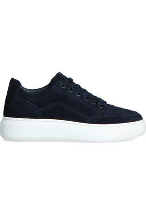Manfield Donkerblauwe suède sneakers