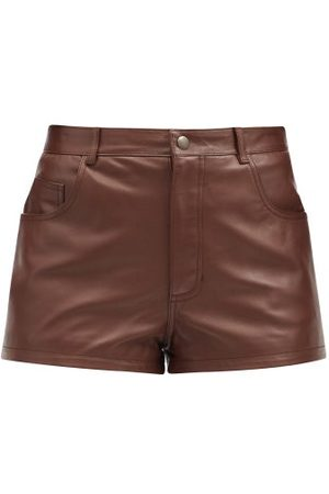 Saint Laurent High-rise Leather Shorts - Womens - Brown
