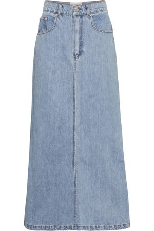 Nanushka Claudia high-rise denim midi skirt