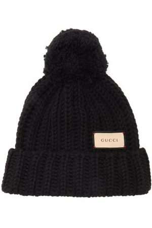 Gucci Dames Mutsen - Logo-tag Wool Bobble Hat - Womens - Black