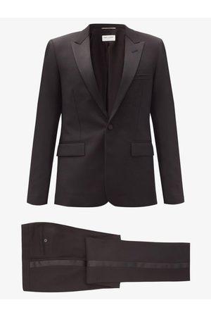 Saint Laurent Single-breasted Wool-crepe Suit - Mens - Black