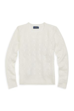 GIRLS 7-14 YEARS Classic Cable Cashmere Jumper