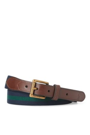 Polo Ralph Lauren Leather-Trim Stretch Belt